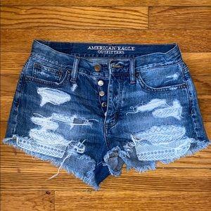 AMERICAN EAGLE Vintage High-Rise Jean Shorts